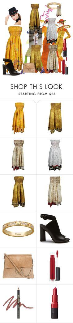 """Recycle Vintage Sari Dress"" by tarini-tarini ❤ liked on Polyvore featuring John Lewis, INIKA, Bobbi Brown Cosmetics, vintage, bohodress, Recycledress and VintageSariDress"