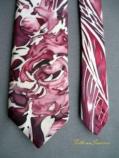 Roses Silk Tie Mens Necktie Men SILK Wedding Tie by FilkinaScarves