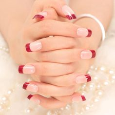 French Nails Tips Natural Simple Design Short Full Cover faux ongles with … – Long Nails – Long Nail Art Designs French Manicure Acrylic Nails, French Tip Nails, French Manicure With A Twist, Cute Nails, Pretty Nails, Wedding Nails Design, Manicure E Pedicure, Stylish Nails, Red Nails
