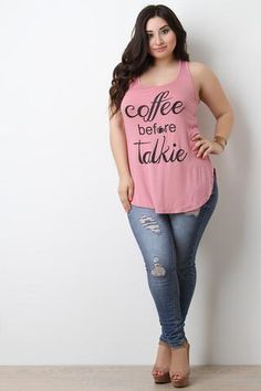 Coffee Before Talkie Sleeveless Tank Top Looks Plus Size, Plus Size Tops, Trendy Outfits, Cute Outfits, Fashion Outfits, Curvy Women Fashion, Plus Size Fashion, Plus Size Dress Outfits, Casual Dresses