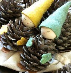 Manualidades: Gnomos realizados con piñas para adornar el árbol de Navidad   Ideas para Decoracion
