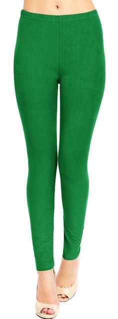 Solid Brushed Leggings VP103-Green  #Leggings #VIVCollection #Fashion #OOTD