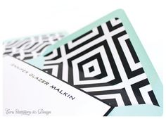 Custom Mix-and-Match Black, White, Coral, and Aqua Stationery, Mid-Century Modern, by ECRU Stationery & Design
