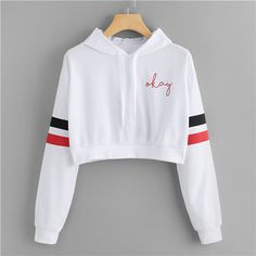 SweatyRocks White Striped Varsity Print Crop Hoodie Drawstring Preppy Girls Pullovers Autumn Women Long Sleeve Sweatshirt - white,s Girls Fashion Clothes, Teen Fashion Outfits, Outfits For Teens, Girl Outfits, Crop Top Hoodie, Cropped Hoodie, Camo Hoodie, Hoodie Sweatshirts, Fashion Sweatshirts