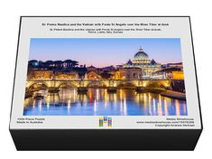 St. Peters Basilica and the Vatican with Ponte St Angelo over the River Tiber at dusk. 1000 Piece Puzzle. St. Peters Basilica and the Vatican with Po.