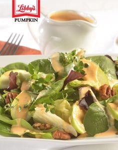 CREAMY PUMPKIN SALAD DRESSING This dressing pairs great with a salad of mixed greens, raisins, cut-up apple and toasted pecans. Each 2 tablespoon serving of this dressing is: Libby's Pumpkin, Pumpkin Salad, Canned Pumpkin, Pumpkin Recipes, Milk Recipes, Salad Recipes, Healthy Recipes, Healthy Gourmet, Healthy Meals