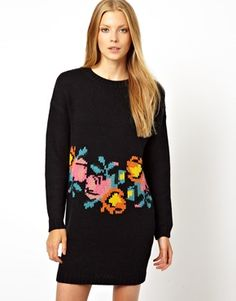 Imagen 1 de Vestido de punto tejido a mano con estampado floral de ASOS