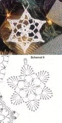 Crochet snowflake - maybe nice as an earring Crochet Snowflake Pattern, Crochet Snowflakes, Crochet Doily Patterns, Crochet Squares, Crochet Chart, Thread Crochet, Crochet Flowers, Crochet Christmas Ornaments, Christmas Crochet Patterns