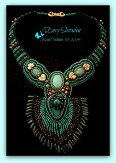 Beadembroidery Necklace Turquoise Green/Brown by EnvySieraden, €255.00