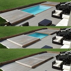 Rolling-Deck Piscine et Jacuzzi Small Swimming Pools, Small Pools, Swimming Pools Backyard, Swimming Pool Designs, Pool Decks, Pool Landscaping, Pool Spa, Small Backyard Patio, Backyard Patio Designs