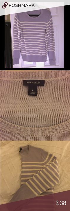 Lavender/white striped sweater Ann Taylor sweater with size zipper. Never worn. Ann Taylor Sweaters Crew & Scoop Necks
