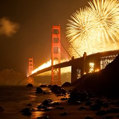 Fireworks by the Golden Gate bridge. Been here and this one of my favorite Views