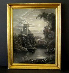 Antique Sandpaper Drawing c.1860 Marble Dust Painting. Castle stream,trees. Clouds.