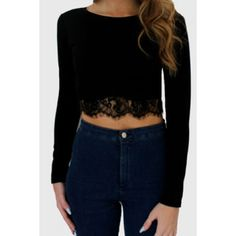 Stylish Round Neck Long Sleeve Solid Color Laciness Women's Crop Top