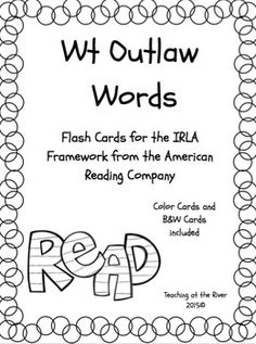 I've made NEW AND IMPROVED flashcards but I'm leaving the same great low price! These cards are for the Wt level of the IRLA framework from the American Reading Co. This is color-coded (black and white) to go with the rest of the IRLA levels.Ideas for the classroom:-I have a set printed out on card stock, laminated, and hole punched with a binder ring in it that I leave at my word work center.