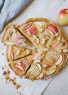 This apple frangipane tart is a classic French almond tart with a flaky pie crust and beautiul apples on top! Serve as a fancy sliced treat this holiday! Tart Recipes, Sweet Recipes, Baking Recipes, Dessert Recipes, Fancy Desserts, Delicious Desserts, Frangipane Tart, Cake Ingredients, Galette