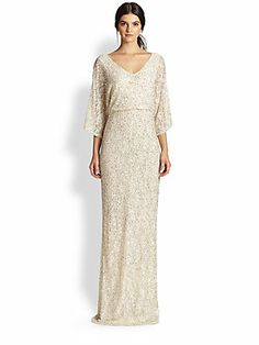 Alice + Olivia Cante Embellished Lace Column Dress @ SAks Fifth Avenue.
