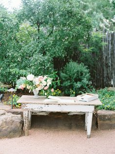 Simple Wooden Farm Table with Blush Floral Arrangement by Sprout Floral;  Wedding Design by Mayhar Design