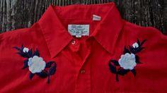 Vintage SILVER SPUR WESTERN WEAR Red Cowboy Pearl Snap Button Slim Shirt Men's L #SilverSpur #ButtonFront #Everyday