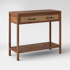 Warwick Wood & Rattan Console Table - Threshold™ - image 2 of 3 Bedside Table Ikea, Ikea Lack Coffee Table, Console Table Canada, Wooden Console Table, Home Depot Folding Table, Ikea White Side Table, Large Drawers, Brown Wood, Rattan