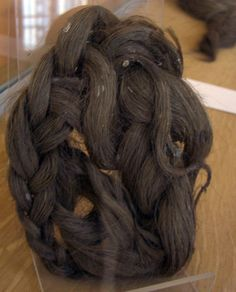 Gallo - Roman artifacts on display in the Musée d'archéologie Bargoin in Clermont, France.  From the 2nd century AD site of Martres de Veyre.  Braided hairpiece.