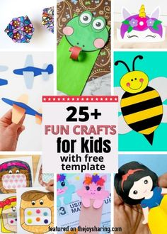 Lots of fun and easy printable activities for kids to keep busy them at home. #thejoysharing #freeprintable #activitiesforkids #craftsforkids via @thejoysharing Preschool Craft Activities, Preschool Art Projects, Printable Activities For Kids, Craft Projects For Kids, Printable Crafts, Crafts For Kids To Make, Kids Crafts, Craft Ideas, Activity Ideas