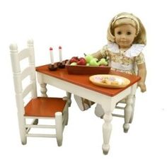 """The Queen's Treasures Farmhouse Collection Table & Chairs, Fits 18"""" American Girl Doll Furniture Cream"""