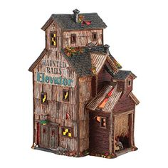 Department 56 Snow Village Halloween Haunted Rails Grain Elevator Lit House 492Inch *** You can find more details by visiting the image link. (This is an affiliate link and I receive a commission for the sales)