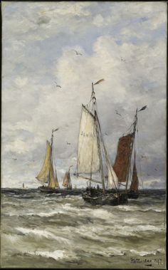 """Fishing Boats at Sea"", 1897, by Kendrik Willem Mesdag from AGO Art of the Day"