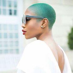 Green low cut natural hair