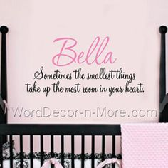 SOMETIMES THE SMALLEST THINGS Wall Quote with Name-personalized wall name,Sometimes the Smallest Things Custom Wall Quote,  Removable wall word art,vinyl wall art,bedroom decor wall words,wall name overlay,Baby Nursery Wall Words, Personalized Children's Room Wall Decals
