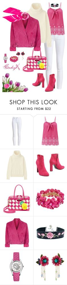 """""""Fuchsia, White"""" by cody-k ❤ liked on Polyvore featuring Barbour, Monsoon, Uniqlo, Rodo, Betsey Johnson, Topshop, Salvatore Ferragamo, Les Néréides and Hermès"""