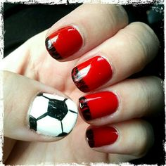 nail art by Amber Armstrong -- done for my daughter's end of season soccer party - Instagram@armstrongnails