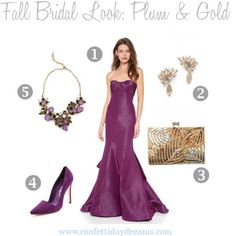 Fall Bridal Look | Plum and Gold | Confetti Daydreams