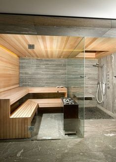 Do you want to create fabulous home sauna design ideas as your home design ideas? Creating a fabulous home sauna sounds great. In addition to making aesthetics in your home, a home sauna is very suitable for you to choose… Continue Reading → Jacuzzi, Home Spa Room, Spa Rooms, Sauna Steam Room, Sauna Room, Basement Sauna, Basement Remodeling, Design Sauna, Modern Saunas