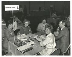 Talking to travel agents at a Travel Trade Show in 1981
