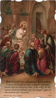 IMÁGENES RELIGIOSAS: ESTAMPAS ANTIGUAS; Jesus in the midst of the Apostles with Eucharist.