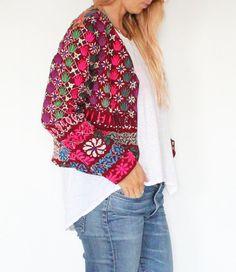 Vintage Indian Banjara Embroidered Jacket Size M
