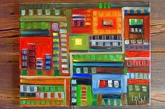 Town Square  Abstract Painting  Original Oil 16x20 by BradleysArt
