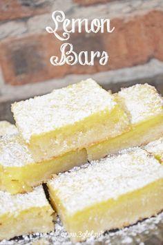 Lemon Bars. Sweet lemon filling on a sweet crust. #lemondessert #lemonbars #homemadedessert www.3glol.net