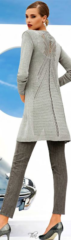 Elegant light grey cardigan/sweater with beautiful lace pattern on the back - inspiration
