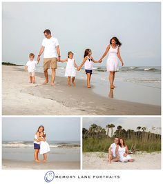 Family of Five in White and Navy for Beach Portraits