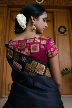 Discover thousands of images about Such a elegant and graceful blouse designs - ArtsyCraftsyDad Saree Blouse Patterns, Fancy Blouse Designs, Bridal Blouse Designs, Blouse Neck Designs, Blouse Styles, Patch Work Blouse Designs, Sari Blouse, Saree Dress, Back Neck Designs