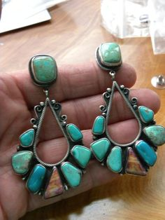 HUGE NEVADA TURQUOISE SPINY OYSTER STERLING SILVER CHANDELIER EARRINGS SIGNED!