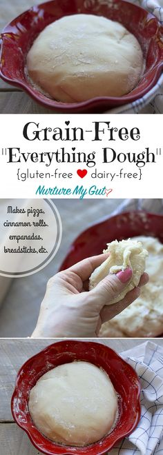 This Grain-Free Everything Dough is perfect for making pizza cinnamon rolls empanadas pita bread breadsticks and more! Made with blanched almond flour tapioca flour and potato starch. - April 20 2019 at Dairy Free Recipes, Paleo Recipes, Cooking Recipes, Wheat Free Recipes, Dairy Free Keto Meals, Easy Recipes, Gaps Diet Recipes, Bariatric Recipes, Sausage Recipes