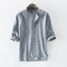 Cheap Chance for Dropping Brand Quality Male Shirts Casual Half Sleeve Cotton Linen Shirt Men Fashion Solid Henry Collar Shirt Men US Size S. Casual T Shirts, Casual Tops, Half Sleeves, Shirt Sleeves, Half Sleeve Shirts, Harajuku, Spring Shirts, Summer Fashion Outfits, Henley Shirts