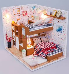 Cuteroom Wood Dollhouse Miniature Kit DIY Doll House Room With Furniture Cover Toy Artwork Gift My Friends Barbie Furniture, Dollhouse Furniture, Diy Dollhouse, Dollhouse Miniatures, Mini Doll House, Miniature Rooms, Sims House, Furniture Covers, Tiny House Design