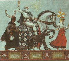 The painting by Jānis Bīne showing three main Latvian Deities - Māra, Dievs (God) and Laima