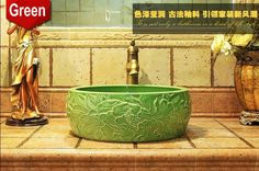 Alibaba グループ | AliExpress.comの 浴室の シンク からの 親愛なる友人、がない場合は出荷methordあなたの国に、 お問い合わせください。南アメリカからのお客様の一部が選ぶことができる海で送料無料、 もし時間があれば待機する。場合は、 配送料は高すぎるあなたの国に、 そしてあなたは、 ケアではな 中の 2色グリーン/ホワイト中国芸術procelain手作り エン ボス加工セラミック洗面浴室容器シンク