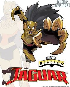 One of the superheroes in Archie's upcoming 'New Crusaders' comic. New Crusaders- Jaguar Superhero Characters, Comic Book Characters, Fantasy Characters, Jaguar, Character Concept, Character Art, Gatomon, One Punch Man Manga, Superhero Design